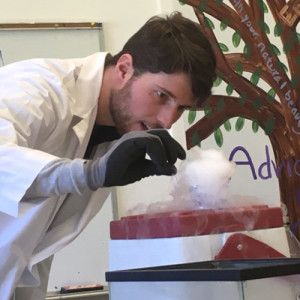 Olders Teacher Ben Bellamy adds water to solid carbon dioxide, also known as dry ice.
