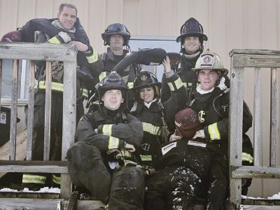 Landon (front left) and crew